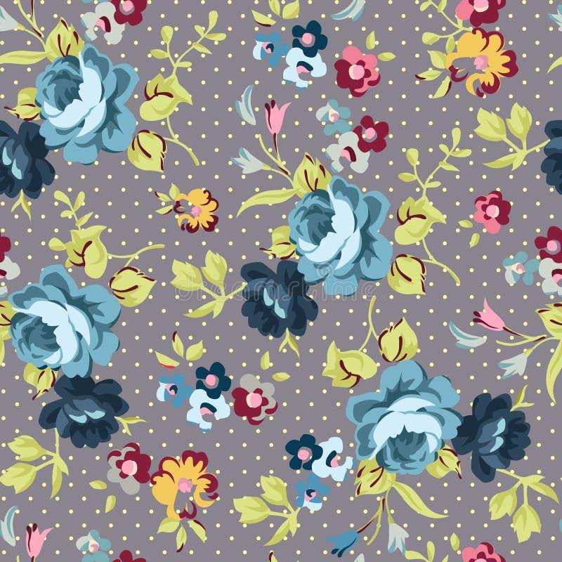 Modello senza cuciture floreale con le rose blu illustrazione vettoriale