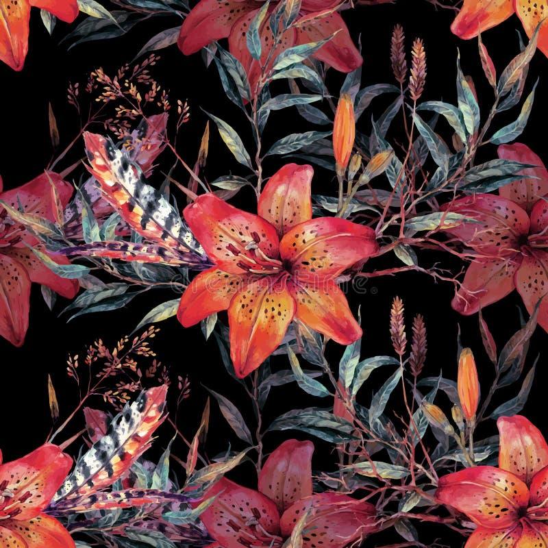 Modello senza cuciture floreale d'annata dell'acquerello royalty illustrazione gratis