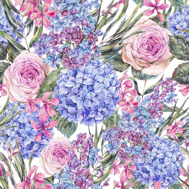 Modello senza cuciture floreale d'annata dell'acquerello con l'ortensia delle rose, ed i wildflowers lilla e blu illustrazione di stock