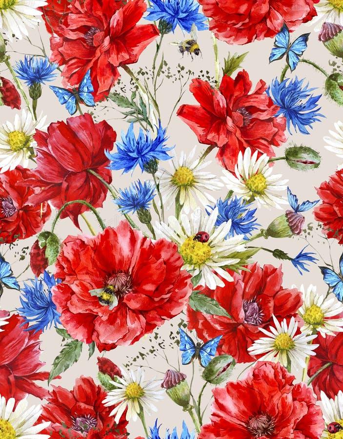 Download Modello Senza Cuciture Floreale D'annata Dell'acquerello Di Estate Illustrazione di Stock - Illustrazione di fiore, mazzo: 56890067