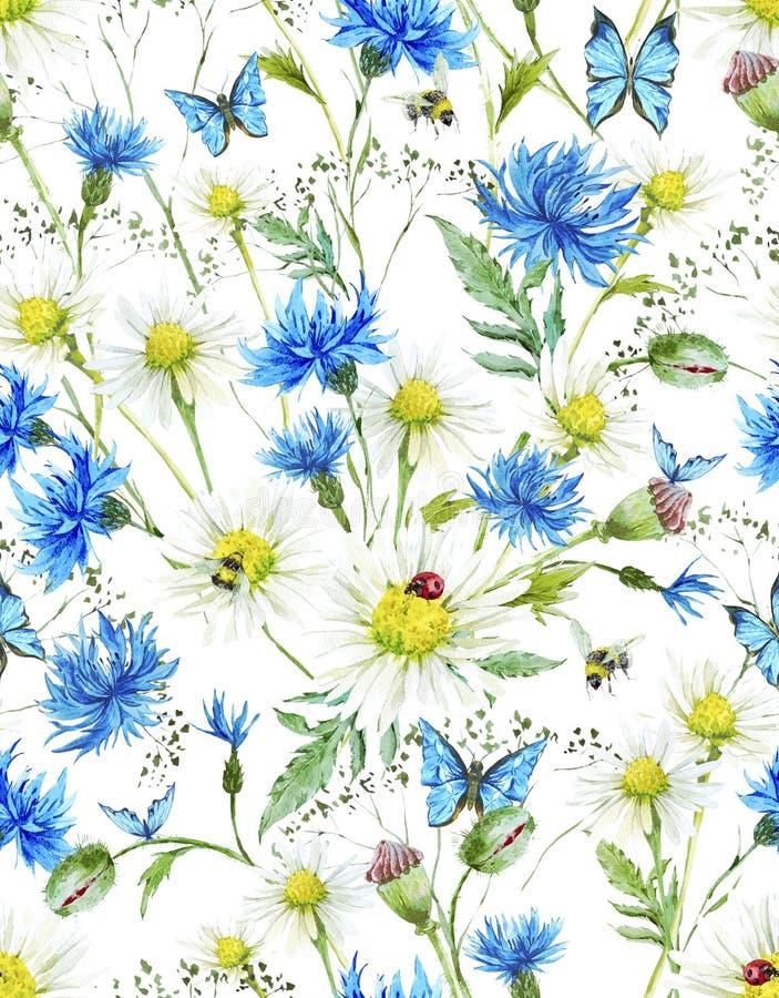 Download Modello Senza Cuciture Floreale D'annata Dell'acquerello Di Estate Illustrazione di Stock - Illustrazione di foglio, bombo: 56890433