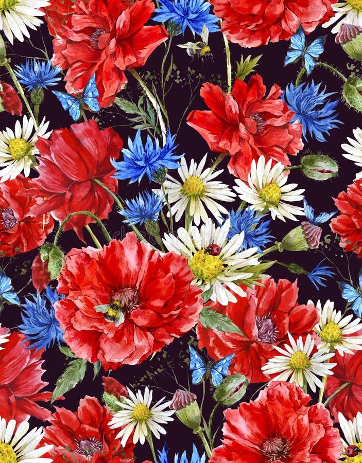 Download Modello Senza Cuciture Floreale D'annata Dell'acquerello Di Estate Illustrazione di Stock - Illustrazione di scheda, modello: 56890485