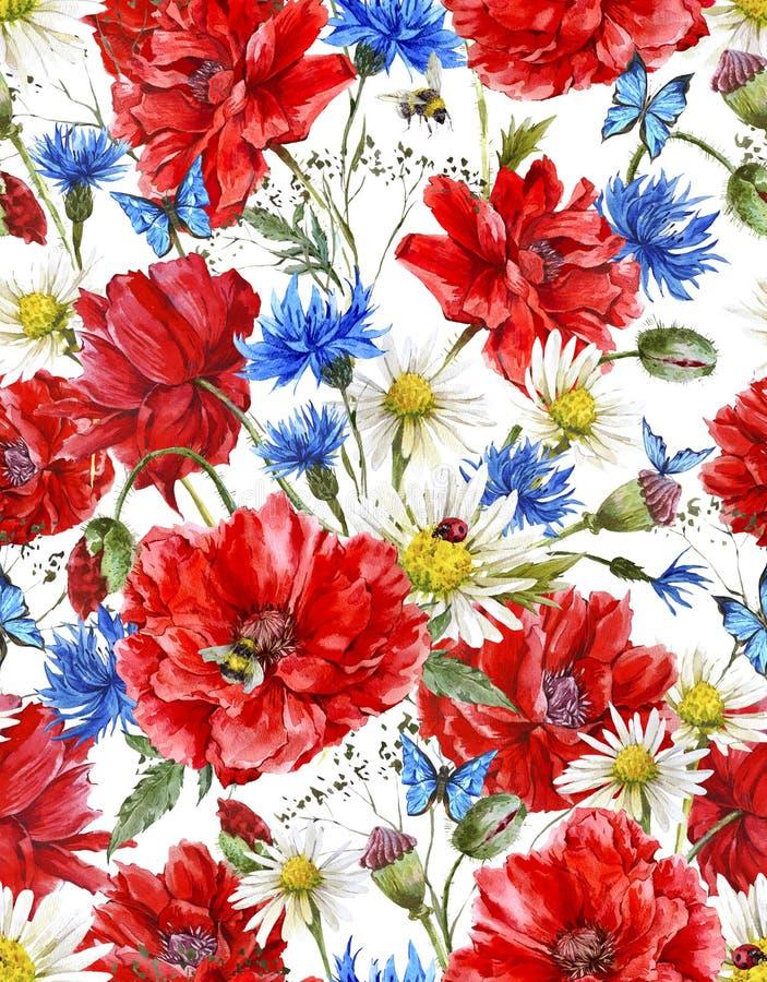 Download Modello Senza Cuciture Floreale D'annata Dell'acquerello Di Estate Illustrazione di Stock - Illustrazione di chamomile, estate: 56891801