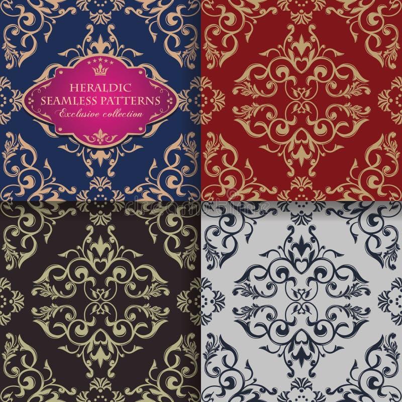 Modello senza cuciture floreale decorato nello stile barrocco Ornamento d'annata infinito Modello orientale dorato royalty illustrazione gratis