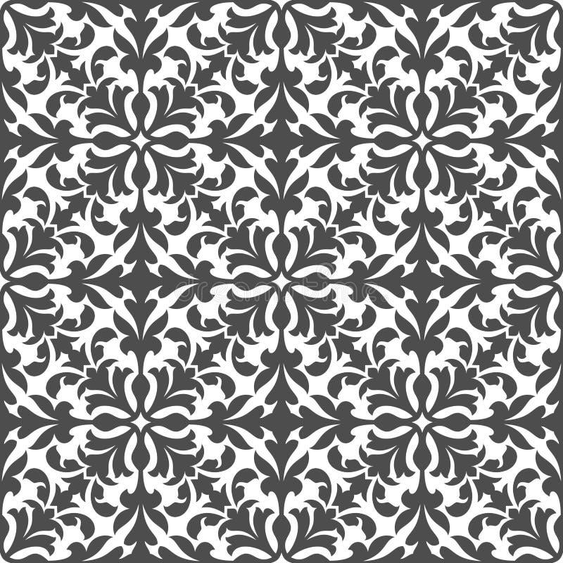 Modello senza cuciture floreale del damasco con fogliame grigio royalty illustrazione gratis