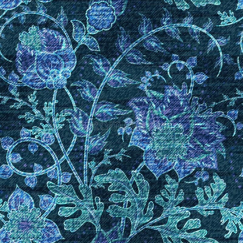 Modello senza cuciture floreale del denim di vettore Fondo dei jeans con i fiori di Rosa Panno blu royalty illustrazione gratis