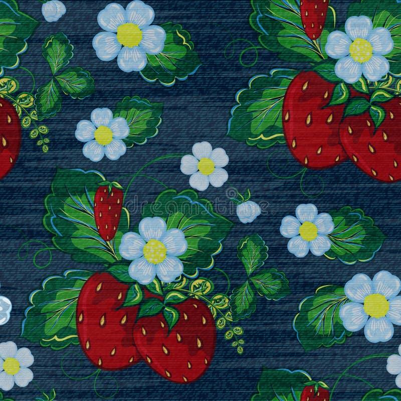 Modello senza cuciture floreale del denim di vettore Fondo dei jeans con i fiori di Rosa Priorità bassa del panno delle blue jean illustrazione di stock