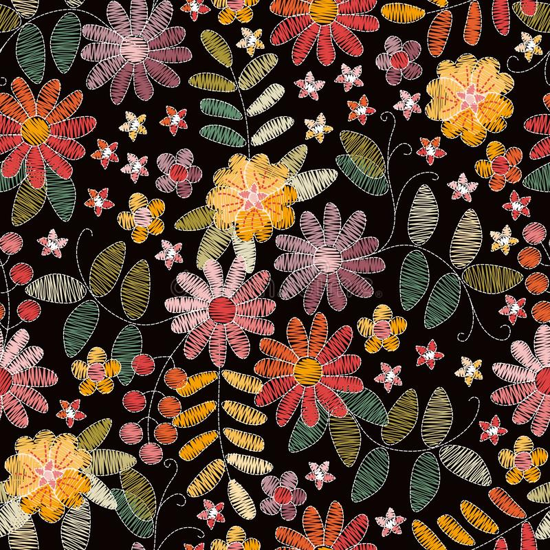 Modello senza cuciture floreale del ricamo con i bei fiori di estate su fondo nero Progettazione di modo per tessuto royalty illustrazione gratis