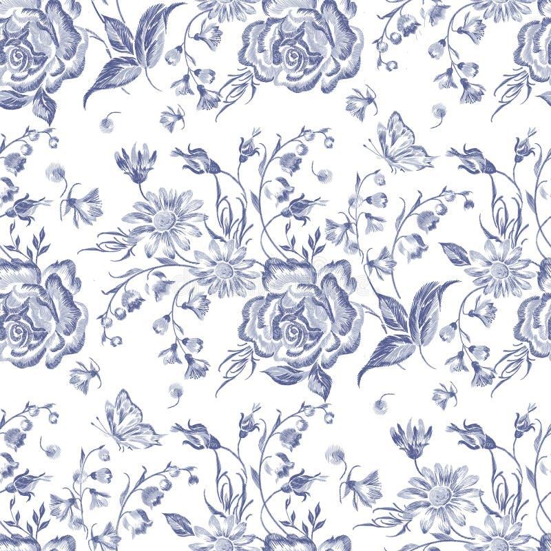 Modello senza cuciture floreale del ricamo con le rose e le camomille blu royalty illustrazione gratis