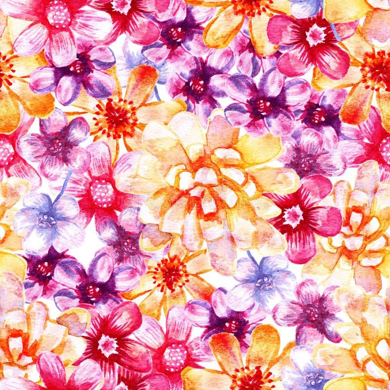 Modello senza cuciture floreale dell'acquerello illustrazione di stock