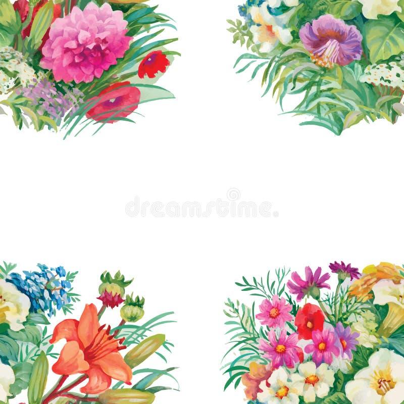Modello senza cuciture floreale dell'acquerello con le rose ed i Wildflowers illustrazione vettoriale