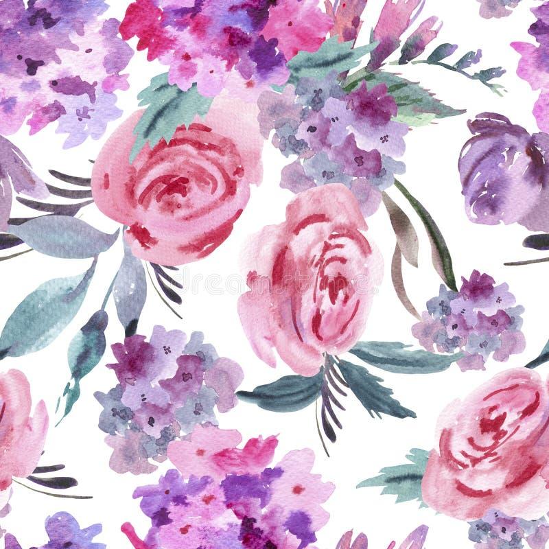 Modello senza cuciture floreale dell'acquerello con le rose, l'ortensia, le foglie ed i germogli rosa illustrazione di stock