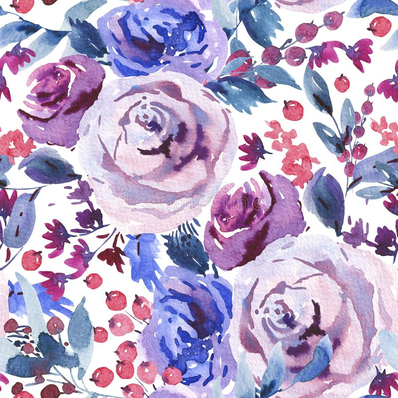 Modello senza cuciture floreale dell'acquerello dell'estratto, Violet Watercolor Roses, fiori, ramoscelli, foglie, bacche, germog illustrazione di stock