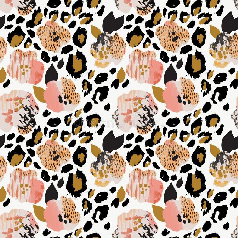 Modello senza cuciture floreale dell'estratto: fiori con le bande della zebra, stampa della pelle del leopardo illustrazione vettoriale