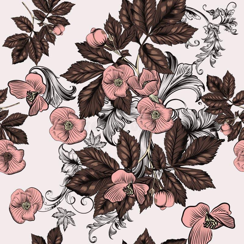 Modello senza cuciture floreale della carta da parati con i fiori rosa illustrazione di stock