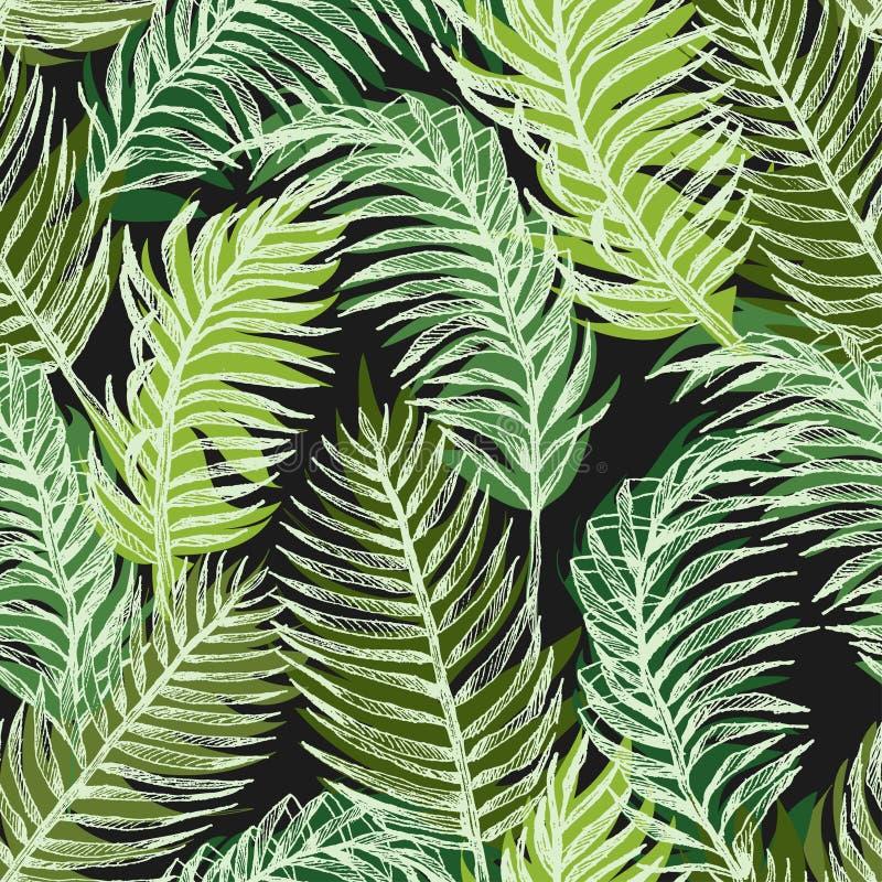 Modello senza cuciture floreale della giungla delle piante tropicali Stampi il fondo di vettore delle foglie di palma della carta royalty illustrazione gratis