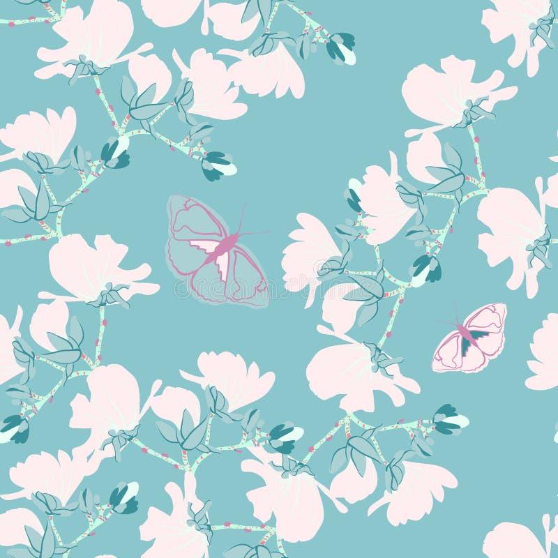 Modello senza cuciture floreale delle magnolie I motivi di fioritura botanici della menta della vaniglia hanno sparso casuale Str illustrazione di stock