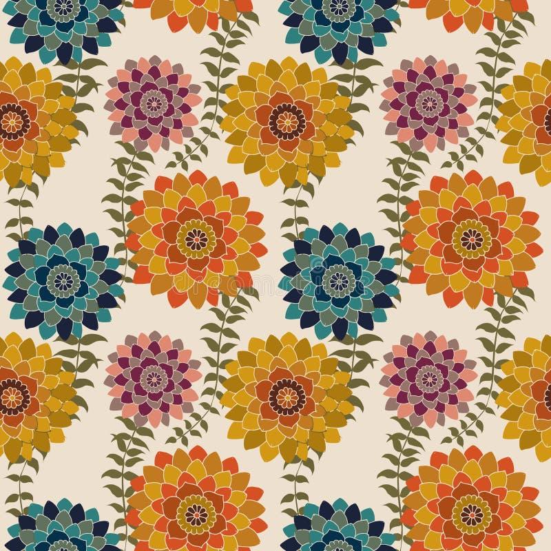Modello senza cuciture floreale di caduta, modello floreale romantico di ripetizione di autunno dei fiori del fondo di superficie illustrazione di stock