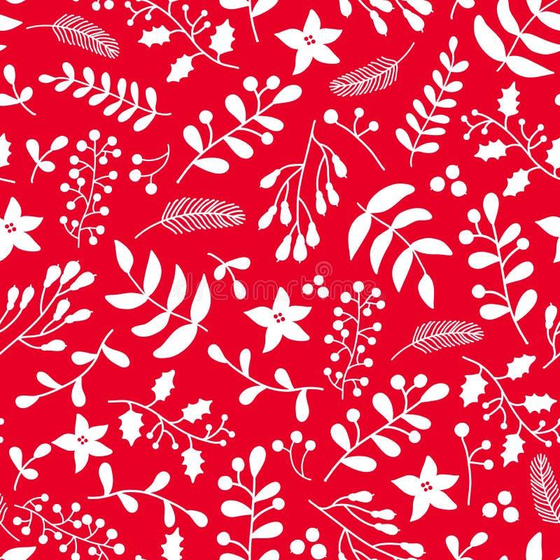 Modello senza cuciture floreale di Natale con agrifoglio, vischio a royalty illustrazione gratis