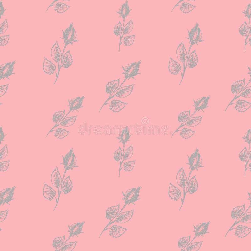 Modello senza cuciture floreale di vettore con le rose di fioritura Modello floreale senza cuciture su un fondo rosa delicato Le  illustrazione di stock