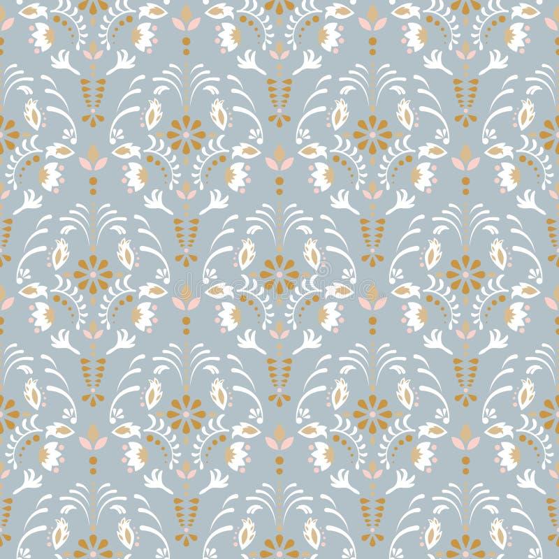 Modello senza cuciture floreale di vettore del damasco di lusso royalty illustrazione gratis