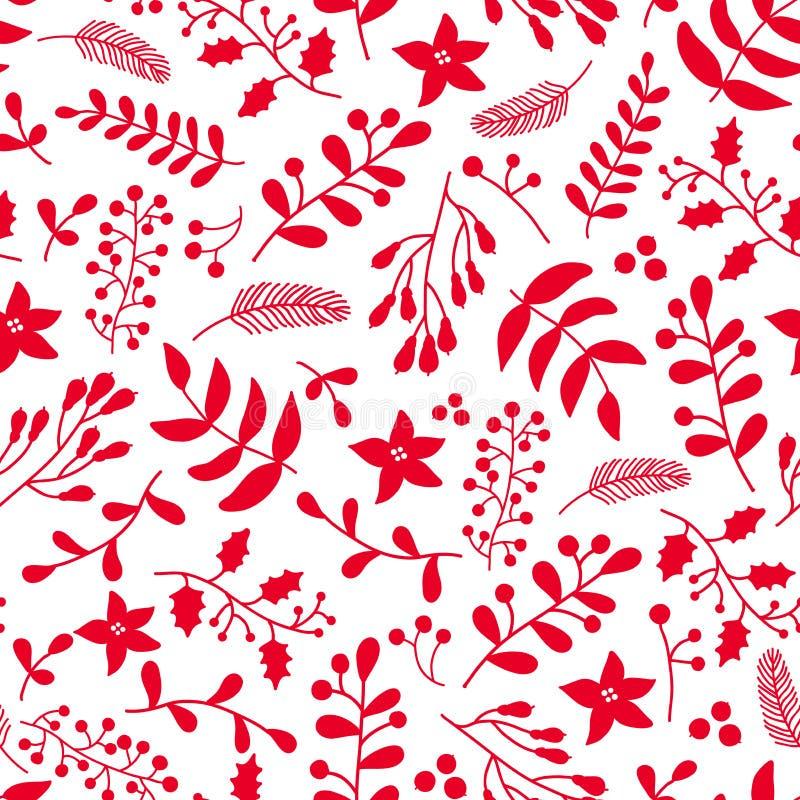 Modello senza cuciture floreale di vettore di Natale con agrifoglio illustrazione vettoriale
