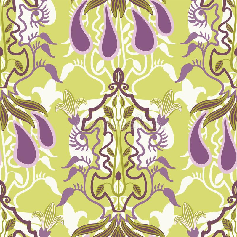 Modello senza cuciture floreale di vettore nello stile di Art Nouveau illustrazione di stock