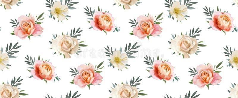 Modello senza cuciture floreale di vettore, progettazione del backgorund: rosa di giardino p illustrazione vettoriale
