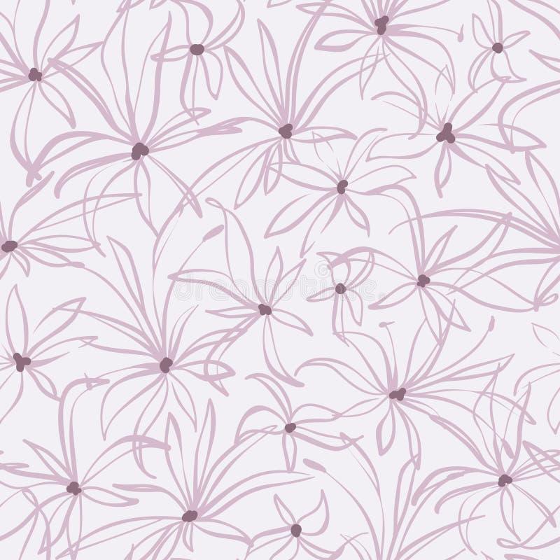 Modello senza cuciture floreale disegnato a mano, fondo ripetuto con i fiori, carta da parati decorativa ornamentale, vettore royalty illustrazione gratis