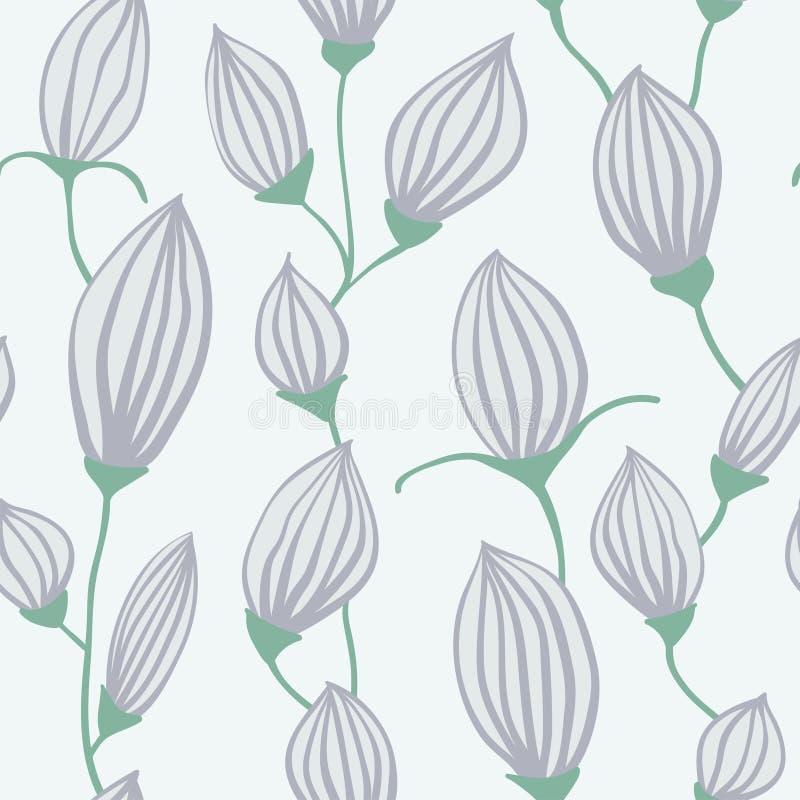 Modello senza cuciture floreale disegnato a mano, fondo ripetuto con i fiori, carta da parati decorativa ornamentale, vettore illustrazione di stock