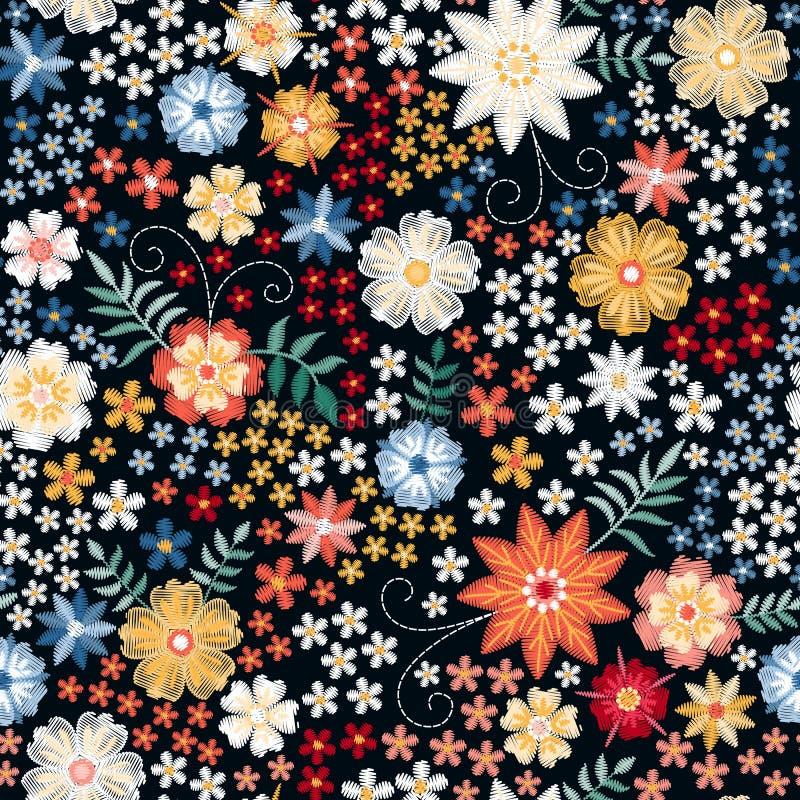 Modello senza cuciture floreale ditsy del ricamo Bei fiori e foglie di estate su fondo nero Illustrazione di vettore royalty illustrazione gratis