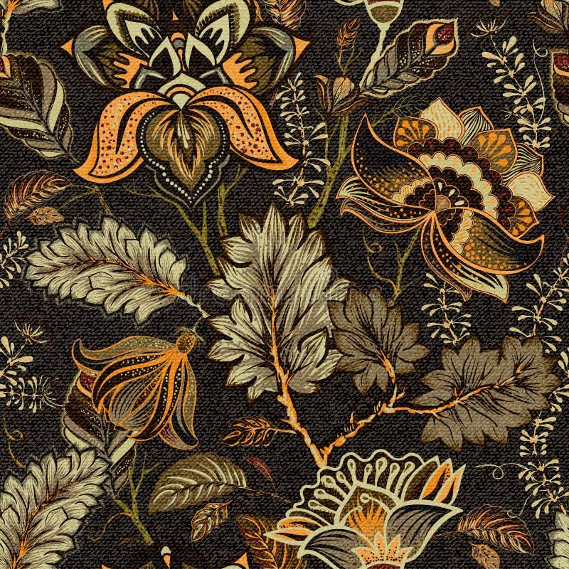 Modello senza cuciture floreale, effetto di struttura Ornamento indiano Fiori e Paisley decorativi di vettore Stile etnico Proget illustrazione vettoriale