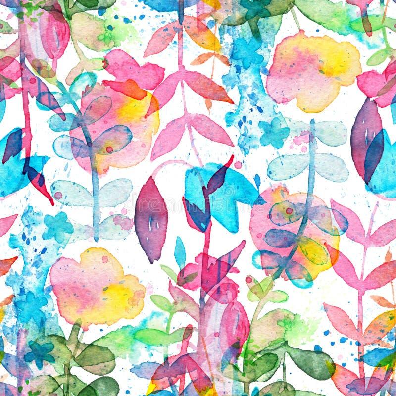 Modello senza cuciture floreale felice e luminoso con i fiori e le foglie disegnati a mano dell'acquerello illustrazione di stock