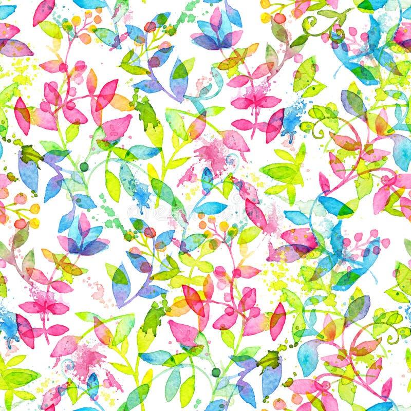 Modello senza cuciture floreale felice e luminoso con i fiori e le foglie disegnati a mano dell'acquerello illustrazione vettoriale