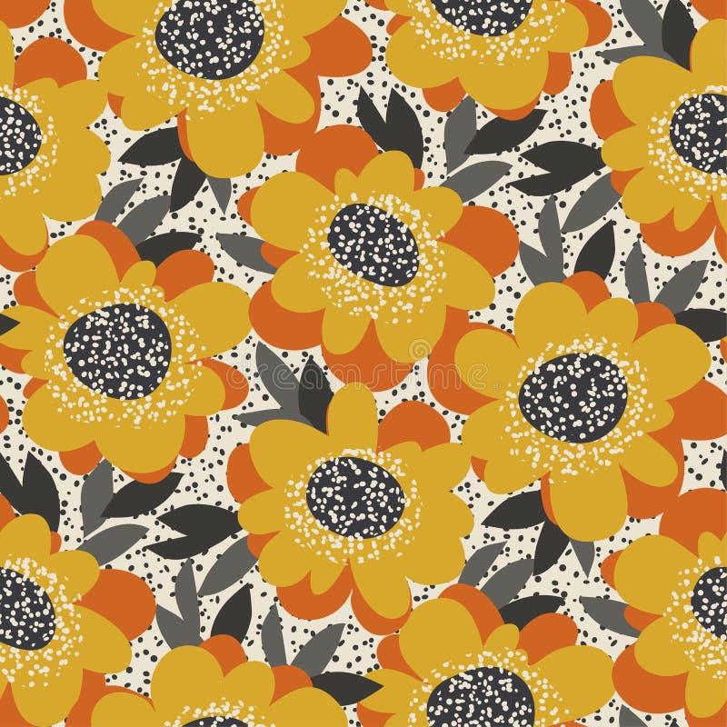 Modello senza cuciture floreale liberamente disegnato semplice Retro moti del fiore 60s illustrazione di stock