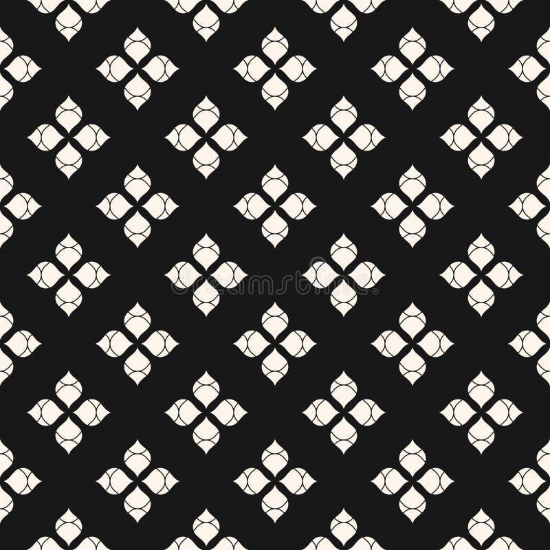 Modello senza cuciture floreale minimalista di vettore Ornamento astratto in bianco e nero royalty illustrazione gratis