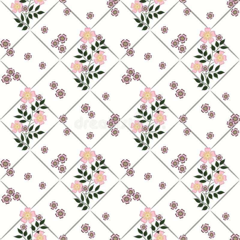 Modello senza cuciture floreale nel retro stile, fondo sveglio di bianco dei fiori del fumetto illustrazione vettoriale