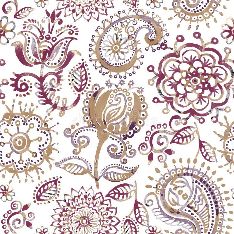 Modello senza cuciture floreale nello stile di Paisley Carta da parati astratta con i fiori Contesto botanico decorativo royalty illustrazione gratis