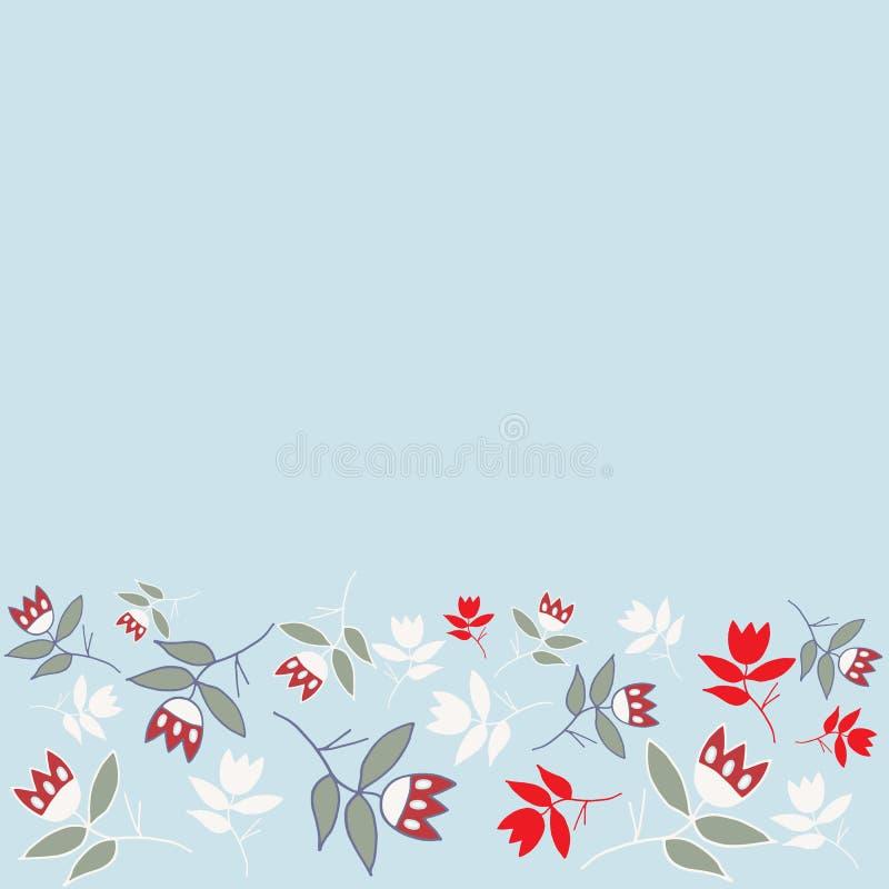 Modello senza cuciture floreale piega del confine di inverno blu illustrazione di stock
