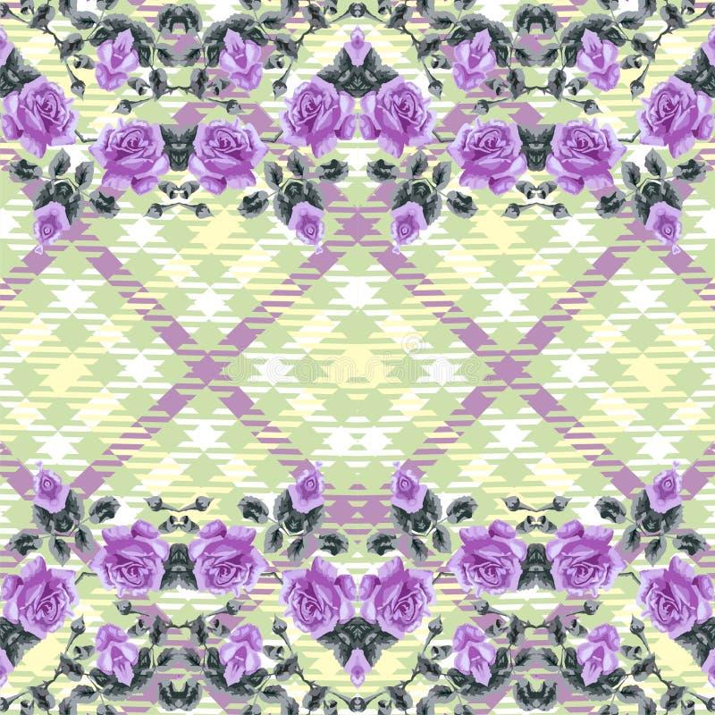 Modello senza cuciture floreale (rose), tartan del tessuto. illustrazione vettoriale