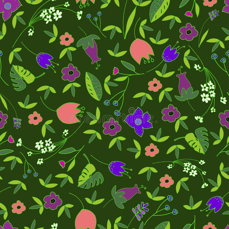 Modello senza cuciture floreale sveglio con i fiori e le foglie disegnati a mano di scarabocchio nello stile del fumetto Fondo fe illustrazione di stock