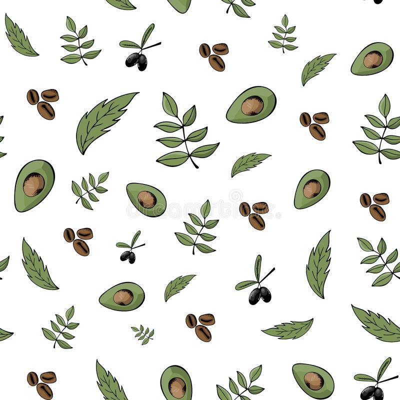 Modello senza cuciture, fondo, alimento biologico, prodotti naturali, Bi illustrazione di stock