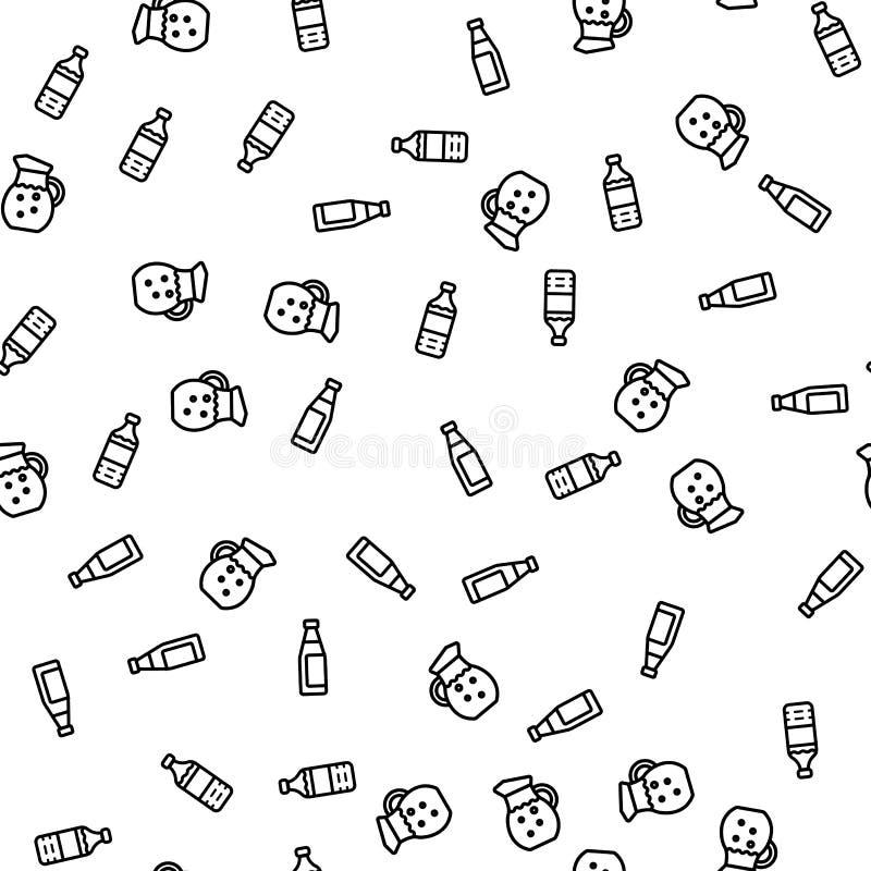 Modello senza cuciture fresco di bottiglia della bevanda di plastica dell'acqua illustrazione di stock