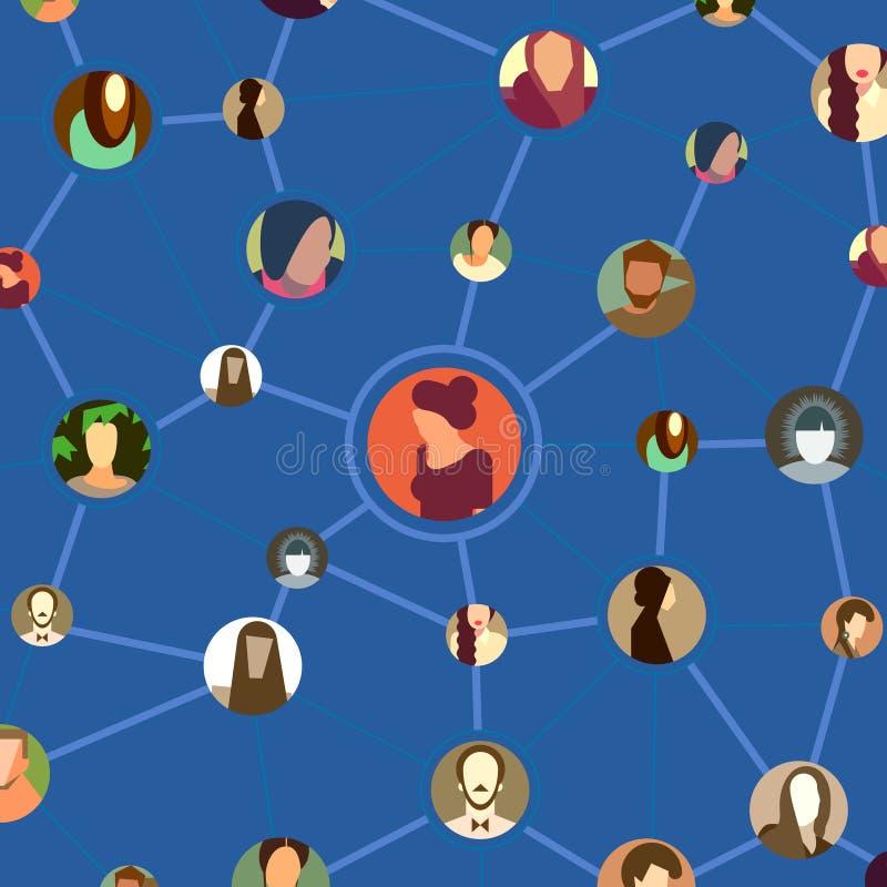 Modello senza cuciture, fronti dell'avatar nella rete sociale illustrazione di stock