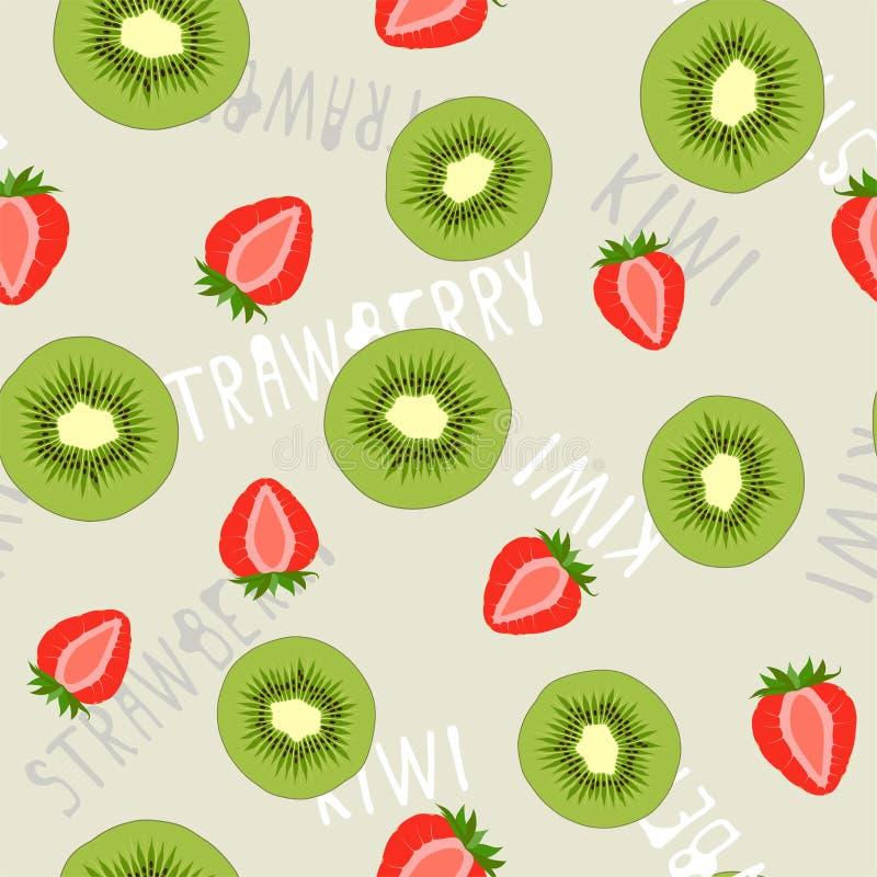 Modello senza cuciture fruttato luminoso di estate con il kiwi e le fragole Vettore illustrazione di stock