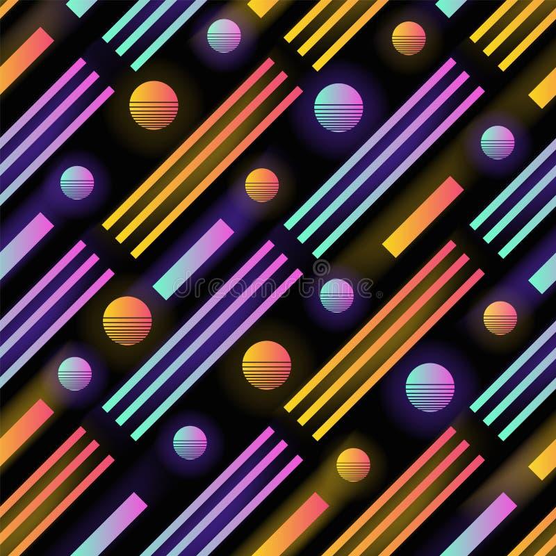 Modello senza cuciture futuristico con i cerchi colorati d'ardore di pendenza, le bande e le linee parallele della diagonale Vett royalty illustrazione gratis