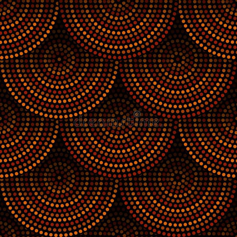 Modello senza cuciture geometrico aborigeno australiano dei cerchi concentrici di arte in marrone e nero arancio, vettore illustrazione di stock