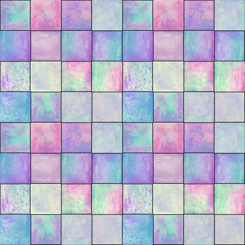 Modello senza cuciture geometrico astratto con i quadrati Materiale illustrativo acquerello variopinto immagine stock libera da diritti