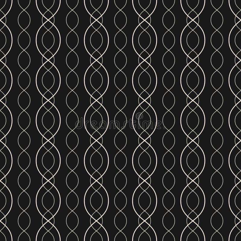 Modello senza cuciture geometrico astratto con le linee curve, catene, maglia illustrazione vettoriale