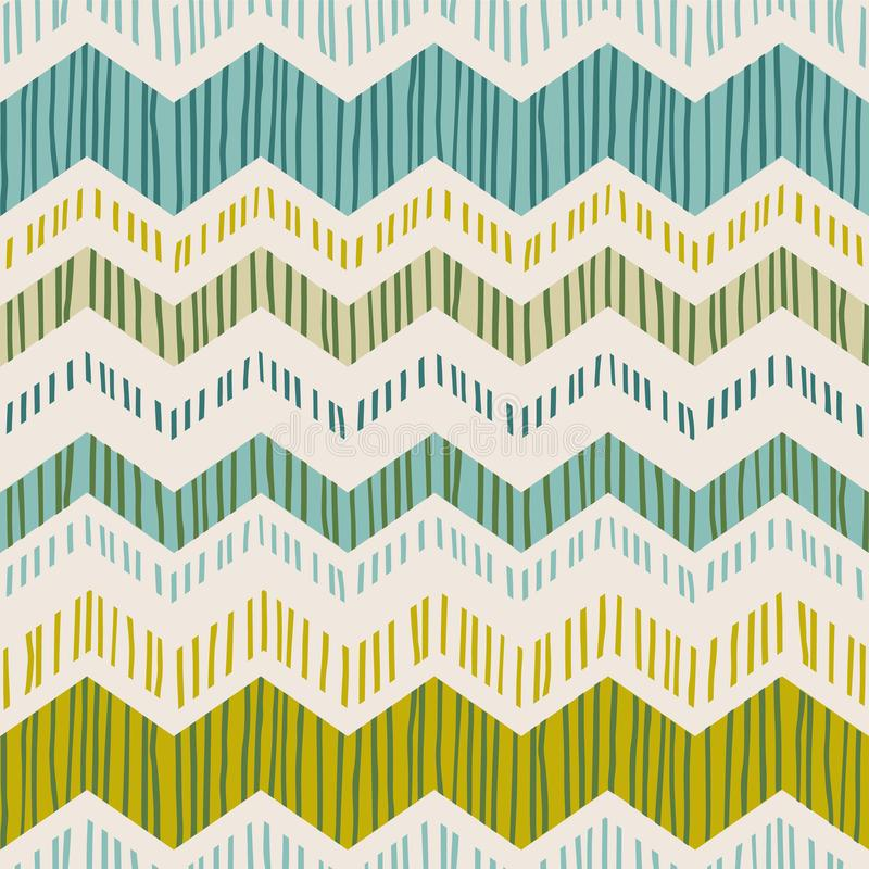 Modello senza cuciture geometrico astratto con lo zigzag Strutture disegnate a mano d'avanguardia royalty illustrazione gratis